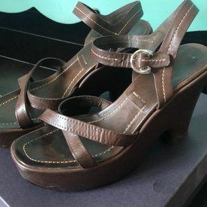 Vintage Prada Calzature Donna Brown Leather Wedge